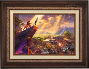 The proud parents Mufasa and Nala watch as Rafiki pays tribute to the new born cub Simba, the future King of the land on the Pride Rock for all the kingdom to see  - Dark Walnut Frame