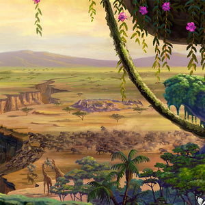 In the distance, the stampede that led to Simba's exile is starting its descent down the ravine - Closeup.