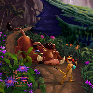 Timon and Pumbaa are jolly and happy as they feast on their favorite delicacies - closeup