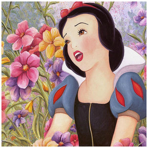 Love In Full Blossom by Michelle St. Laurent.  The beautiful Snow White singing her love songs in the garden of flowers - closeup