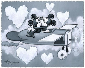 Mickey and Minnie kissing as they fly high into heart-shaped clouds in a vintage airplane.