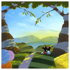 Love's Path by Michael Provenza.  Mickey has his arm wrapped around Minnie's waist, as they sit and rest under the tree shade by the side of path.