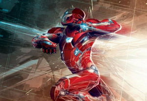 Lunge: Iron Man by Marvel Studios.  Iron Man in forward action.