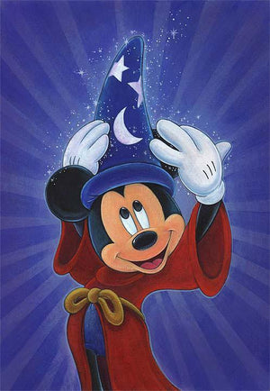 Mickey the Sorcerer tries on his Wizard hat