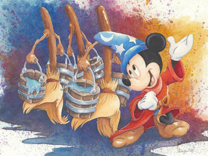 Mickey the Sorcerer dancing with the straw brooms carrying buckets of water to fill a cauldron.