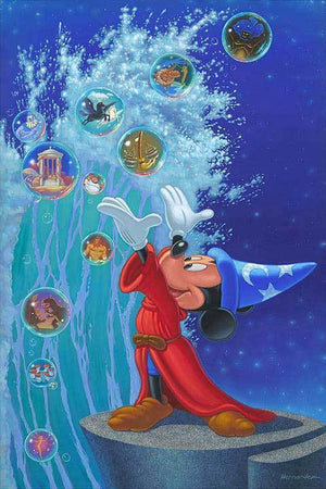 Mickey the Sorcerer creates bumbles, from the ocean waters, as he summon's up the  sea's characters flooding inside...