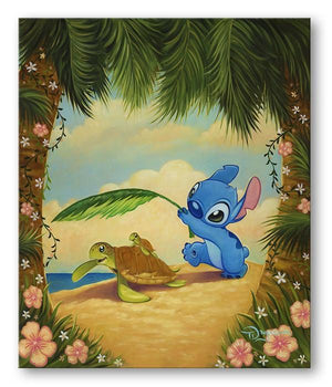 Stitch is providing shade with a large green leaf for a mother turtle, and it's baby at the beach.