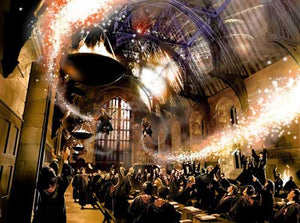 Fred and George Weasley flying over the Hogwart's great hall, from the movie Harry Potter and the Order of the Phoenix.