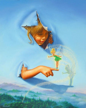 Making Friends by  Jim Warren.  A little girl has busted out her head and arm from the painted canvas to extend her friendship, as Tinker Bell stands on the little girl's finger.