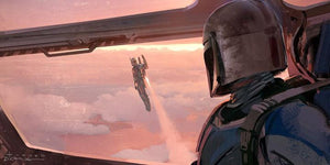Mandalorian, watches from his Razor Crest as Jango Fett flys above him in his  harnessed jetpack - canvas
