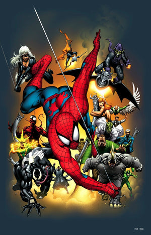 A collage of of Marvel's Characters - Spider-Man, Black Cat, Green Goblin, Vulture, Lizard, Rhino, Venom, Sandman, Doctor Octopus, Electro, Hobgoblin, May Parker, Mary Jane, Scorpion, Johan Jameson, Carnage, and Shocker!