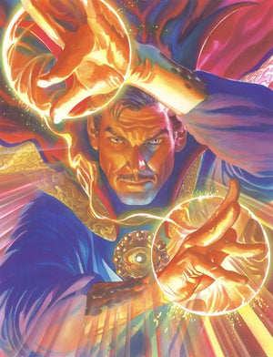 Doctor Strange projects his energy bolts.