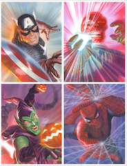 MARVELOCITY: Heroes and Foes by Alex Ross  Showcases the legendary heroes Captain America and Spider-Man as well as their deadliest foes, the Red Skull and Green Goblin.
