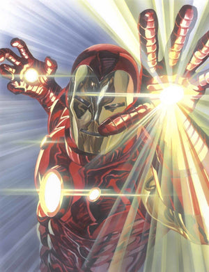 Iron-Man shots his rays from the palms of his gauntlets.