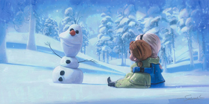 Memories of Magic by Jim Salvati.  The younger sisters Elsa and Anna sit and watch the magical snowman Olaf come to life.
