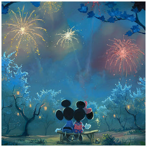 Memories of Summer by Rob Kaz.  Mickey and Minnie sitting on a bench watching the spectacular firework's celebration lighting-up the night sky - closeup