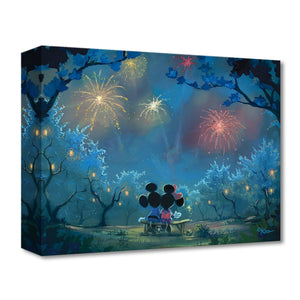 Memories of Summer by Rob Kaz.  Mickey and Minnie sitting on a bench watching the spectacular firework's celebration lighting-up the night sky.