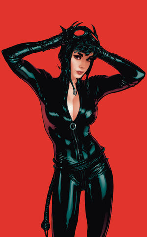 Catwoman in a tight one piece latex outfit.