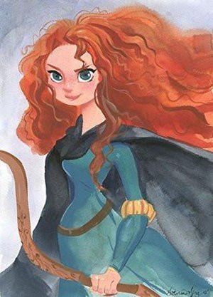"Portrait of Merida with Bow in hand, inspired by Walt's Disney Film ""Brave""- Canvas"