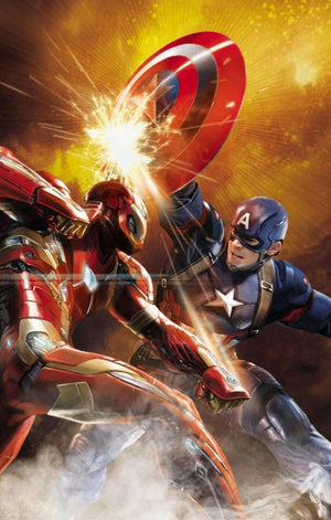 Iron Man and Captain America creating sparks as they battle, with each other.
