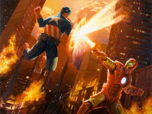 Hero Clash by Christopher Clark  Captain America and Iron Man clashing in a power struggle in a full-on duel.