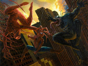 Pick Your Poison By Christopher Clark.  Spider-Man caught in between two of his enemies! Good thing he has spidey senses with great reflexes!