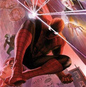 With Great Power by Alex Ross.  J. Jonah Hameson, May Parker, Spider-Man, and Mary Jane Watson - Closeup