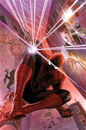 With Great Power by Alex Ross.  J. Jonah Hameson, May Parker, Spider-Man, and Mary Jane Watson.