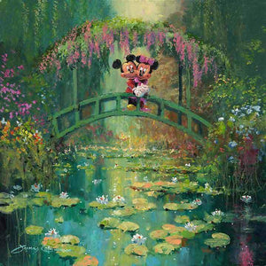 Mickey and Minnie on the Japenese bridge at Giverny garden over looking the fish pond...