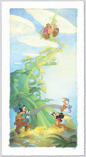 Mickey, Donald, and Goofy spot the Giant climbing down the beanstalk.