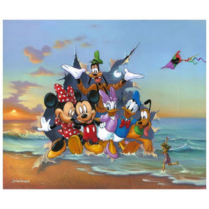 Mickey and the Gang's Grand Entrance by Jim Warren.  Mickey and the Gang of Five dashing out of an ocean painted canvas scene.