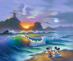 Mickey Proposes to Minnie by Jim Warren.  Mickey makes the move; on his knee and box with the engagement ring at hand, he proposes to Minnie on a beautiful sunset beach.
