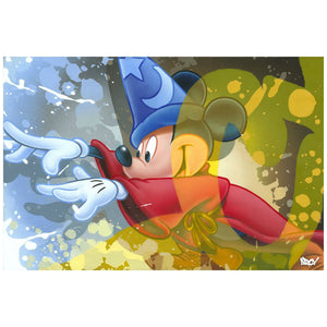 Sorcerer Mickey casts a magical spell - painted with a splash of colored background.