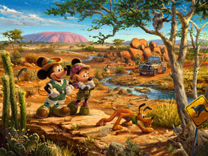 Mickey, Minnie, Pluto Donald, and Goofy explore the land down under - Australia. - Unframed