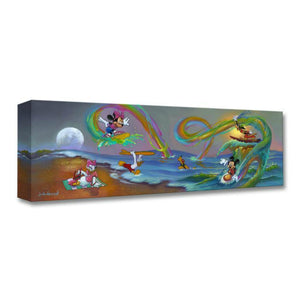 Mickey's Crazy Waves by Jim Warren  A day at the beach...Mickey, Minnie, and Goofy are having fun riding on crazy rainbow water waves, as Daisy, Donald play in the water.