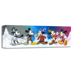 Mickey Mouse paints himself  through the years as Steamboat Willie, the Sorcerer,  Robinhood through today, a happy go  lucky mouse!
