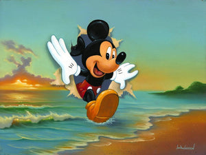 Mickey's Grand Entrance by Jim Warren.  Mickey's stepping out of an ocean scene canvas painting.