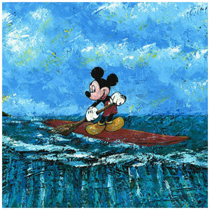 Mickey's Summer by Trevor Mezak.  Mickey standing on his surfboard as he paddles and watches the tortoise below -closeup