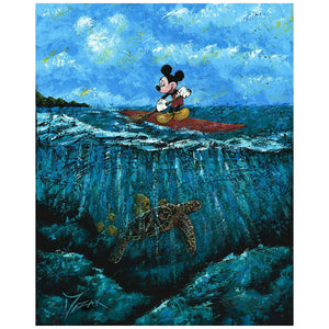 Mickey's Summer by Trevor Mezak.  Mickey standing on his surfboard as he paddles and watches the tortoise below.
