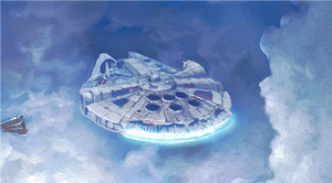 The Millennium Falcon has narrowly escaped the Imperial attack and is safe, for now - closeup