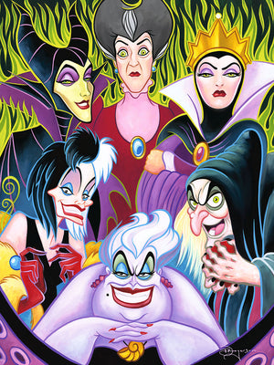 Portrait of Disney's most evil lady villains, centered is Ursula, Cruella de Vil, old hag Queen Grimhilde. Lady Tremaine,and Maleficent.