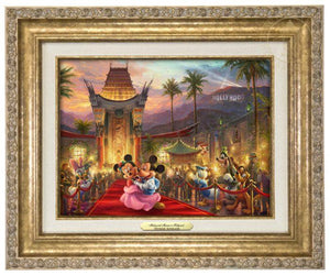 Mickey and Minnie walk the red carpet - Antique Gold Frame
