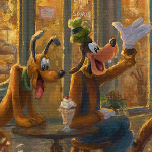 Goofy greets his friends passing by, Pluto can't help but drool over the ice cream sundae that is left unattended - closeup