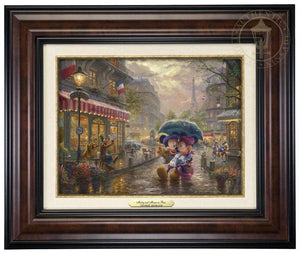 Mickey and Minnie in Paris by Thomas Kinkade Studios.  Dressed in traditional French attire, Mickey and Minnie enjoy playing tourist in their berets and striped shirts after spending the morning at the cafe - burl frame