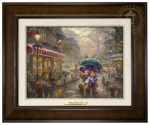 Mickey and Minnie in Paris by Thomas Kinkade Studios.  Dressed in traditional French attire, Mickey and Minnie enjoy playing tourist in their berets and striped shirts after spending the morning at the cafe - espresso frame
