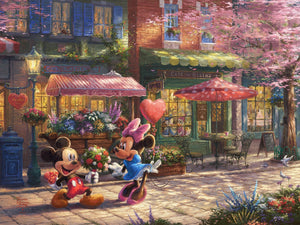Mickey presents Minnie with a bouquet of flowers and a heart shaped box of chocolate in front of Cafe Bristo - unframed