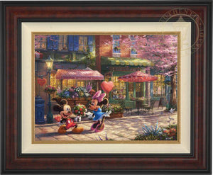 Mickey presents Minnie with a bouquet of flowers and a heart shaped box of chocolate in front of Cafe Bristo - Burl Frame