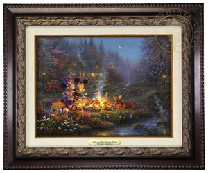 Mickey and Minnie are seen relaxing together on an old log, roasting marshmallows over a crackling campfire after spending a long day of exploring the vast trails of the forest - Aged Bronze Frame