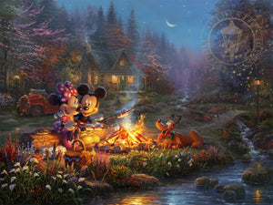Mickey and Minnie are seen relaxing together on an old log, roasting marshmallows over a crackling campfire.