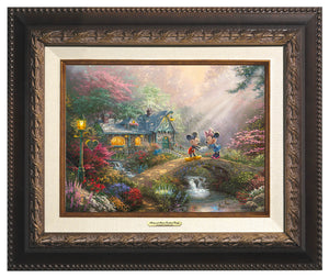 Mickey and Minnie join hands on Sweetheart Bridge.  Aged Bronze Frame